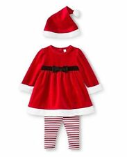 NEW Size 0-3 months Infants Girls Santa Dress with Leggings Outfit with Hat!