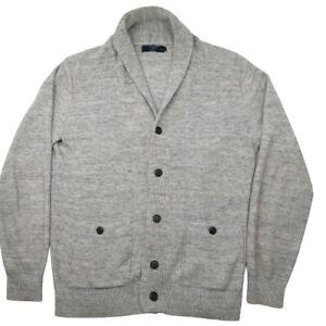 J. Crew Men's Medium Gray Lambswool Shawl Cardigan Sweater