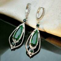 925 Silver Emerald Ear Hook Dangle Drop Earrings Wedding Jewelry For Women Girl