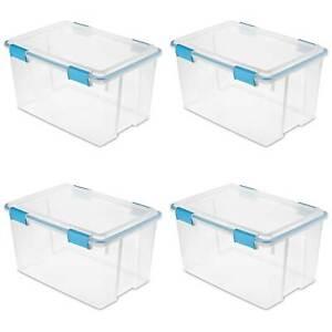 Sterilite 19344304 54 Quart Latched Gasket Plastic Storage Container (4 Pack)