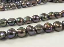 8-9 x 10-11mm Large Hole Peacock Freshwater Pearl Nugget Beads 2mm Hole (#332)