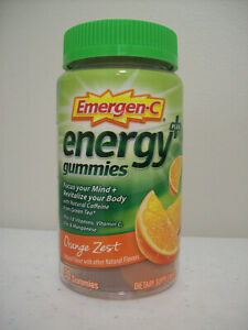 Emergen-C Energy + Plus Gummies Orange Zest 12/2021 Natural Caffeine Green Tea