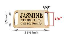 Personalised Dog Tag Slide On Slider Pet ID Name Custom Engraving Brass Steel