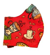 HANDMADE COTTON FACE MASK - Coffee Shop Adult size fits most- Free Shipping