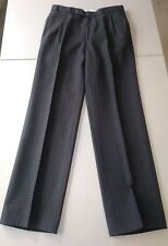 Meyer Navy/Aqua/Taupe Trousers Wool Blend Pleated Front 30/30 Perfect Condition!