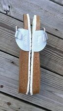 BIRKI'S SYNTHETIC LIGHT BLUE/WHITE CHECK ONE STRAP/BUCKLE SANDALS WOMEN'S L11 M9