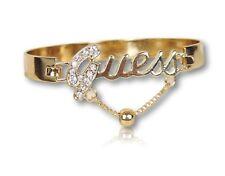 Guess Bangle Bracelet w/ Clear Stones Polish Gold Finish