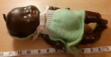 "Vintage 12 inch composite black baby doll painted eyes earrings makers mark ""XX"""