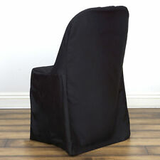 10 Black POLYESTER Folding Flat CHAIR COVERS Wedding Banquet Dinner Decorations