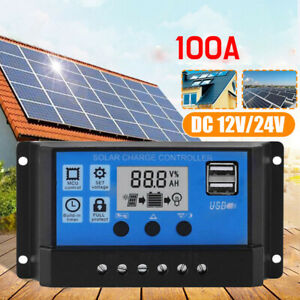 100A 12V-24V PWM Solar Ladegerät Controller Panel Regler Daul USB Digital LCD