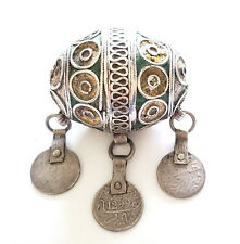 Pendent w Old Enameled/Pendant Antique Moroccan Enameled Silver Ball