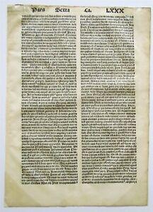 1496 INCUNABULA CARPENTARIUS DESTRUCTORUM ON DEADLY SINS LEAF antique A.KOBERGER