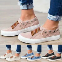 Women's Denim Canvas Loafers Pumps Casual Slip On Flat Trainers Sneakers Shoes