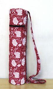 Indian Red Floral Hand Block Yoga Mat Bag With Shoulder Strap Carrier Gym Bag UK