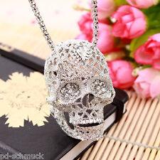 Pd: Damen Halskette Totenkopf Anhänger Strass Silberkette Modeschmuck 70cm