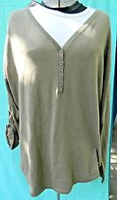 NWT Sonoma Ladies Green Cotton Longsleeve V-Neck Shirt Size L
