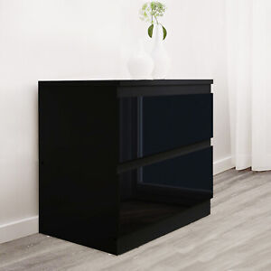High Gloss Chest Of Drawers Bedside Cabinet Tall Wide Storage Bedroom Furniture