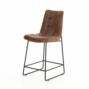 """18.5"""" W Set Of 2 Modern Counter Stool Vintage Tobacco Faux Leather Iron Frame"""