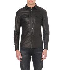 NWT Diesel~|sz Sm Leather Sonora Black Western Men Shirt|~dsquared saint laurent