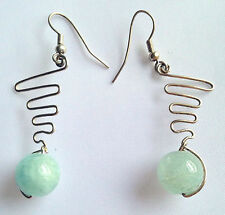 Handmade Zig Zag Dangle Earrings Aquamarine Gemstones Silver Plated