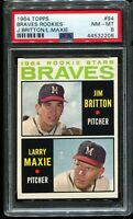 1964 Topps Baseball #94 Milwaukee Braves ROOKIE STARS RC PSA 8 NM-MT
