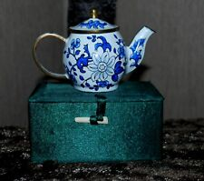 Blue & White Enamel Brass Miniature Teapot Highly Collectible Brand New In Box