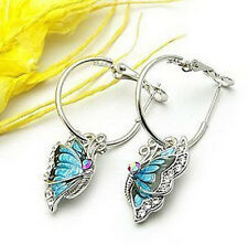 Stylish Women's Blue Butterfly Crystal Silver Plated Hoop Huggie Earrings