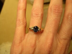 10K Yellow Gold, Sapphire Solitaire, Diamond Ring, Size 6