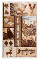 """Cabin Lodge - 7'8""""x11', Multicolor, Bear and Deer, Fishes, Leaves, Rug - 521"""