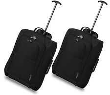 Set of 2/twin Easyjet Ryanair Carry on Trolley Cabin Bag Hand Luggage Suitcases Black 830 55cm