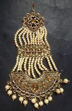 Pearl CZ Indian pakistani Wedding Kundan Antique Chapka Jhumar Pasa h