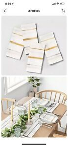 NWT Hearth and Hand Gold Gray Neutral Stripe Napkins Set of 4