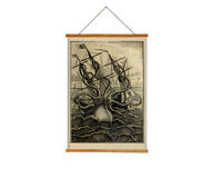 Octopus Giant Ship Wall Hangings Tapesty - Vintage Image Fabric Art Print
