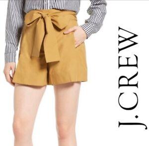 J. Crew Bow Tie Waist Pleated Pink Shorts Cotton Poplin Career Casual Sz 12 JO