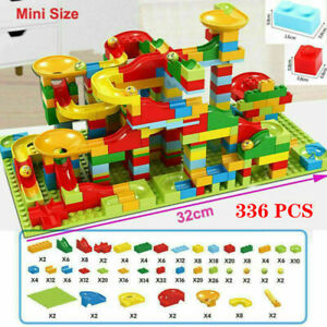 336 PCS Kids Marble Run Race Construction Track Building Blocks Set Boy Girl Toy