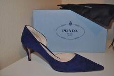 NIB $650 PRADA Blue Suede Pointy Toe d'Orsay Classic Pump Heel Shoes 40.5 / 10.5