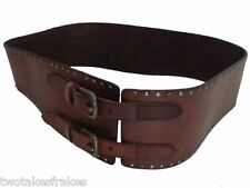 Regent Belt Company Wide Brown Leather Belt Rivet Studded Made in UK 20 New 38