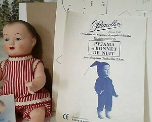 """10""""French Petit Collin """"Celluloid"""" Doll, sewing patterns, fabric in a Wood Box!"""