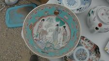 vintage signed 10 inch hand painted Chinese story bowl,fallen tree,genre scene