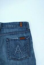 7 FAM Seven For All Mankind Womens Low Rise A Pocket Blue Boot Cut Jeans Sz 27