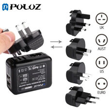 PULUZ Universal 2USB AC Wall Power Converter Travel Charger Adapter US UK EUR