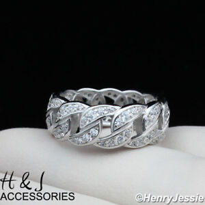 MEN WOMEN 925 STERLING SILVER BLING ICY DIAMOND CURB LINK BAND RING*ASR128