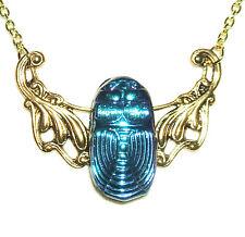 SCARAB Necklace Egyptian Revival Czech CARNIVAL GLASS Beetle ART DECO Gold Pltd