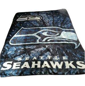 Seattle Seahawks Fleece Throw Blanket Football Blue 60'' X 50'' Reversible