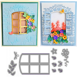 Sizzix Window Box Embossing Die - Florals, Leaves, Window Opening, Cottage