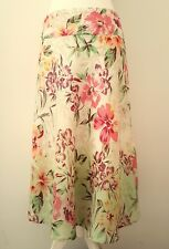 MONSOON ivory floral OMBRE RAMIE LINEN A LINE SKIRT WITH SIDE BUTTONS 12 40 NEW