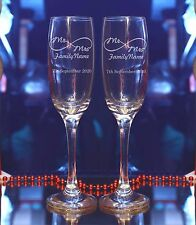 Personalised Engraved Mr Mrs Infinity sign Wedding Champagne Flute Set of 2/38