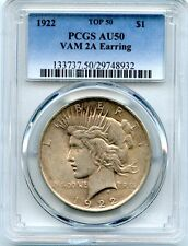 C6774- 1922 VAM-2A EARRING TOP 50 PEACE DOLLAR PCGS AU50