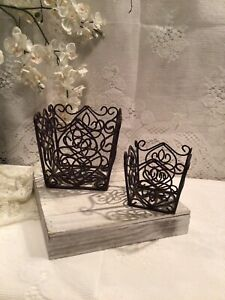 2-PC WROUGHT IRON PLANTERS -FLOWER POT HOLDERS