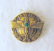 vintage solid 10k BOEING 15 YEARS SERVICE PIN w/emerald. screw post back CTO